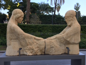 """Standing outside the Nicholas Sursock Museum in Beirut is """"The Weeping Women."""" This sculpture depicts two women, one Christian and one Muslim, mourning together in the loss of sons to senseless wars."""